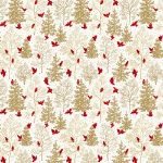 Freespirit fabrics Mid - Century Christmas, snowbirds on gold