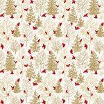 Freespirit fabrics Mid - Century Christmas, snowbirds on gold