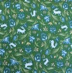 Freespirit fabrics Miss Mustard Seed - Bunnies, Birds & Blooms - Wild Hare - on green
