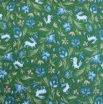 Freespirit fabrics Miss Mustard Seed - Bunnies, Birds & Blooms - Wild Hare - on green