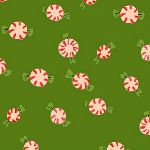 Heather Ross Sugarplum peppermints on green FLANNEL