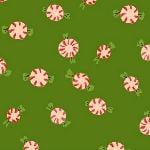 Heather Ross Sugarplum peppermints on green FLANNEL