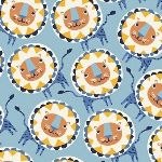 Victoria Johnson Painted Jungle lions on blue