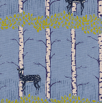 Cotton and Steel Frost, fawn forest in blue