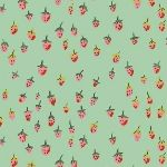 Heather Ross Trixie Field strawberries in aqua