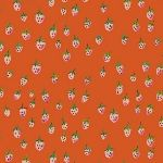 Heather Ross Trixie Field strawberries in orange