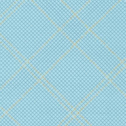 Carolyn Friedlander -CF Collection Tartan border in Dusty blue Metallic