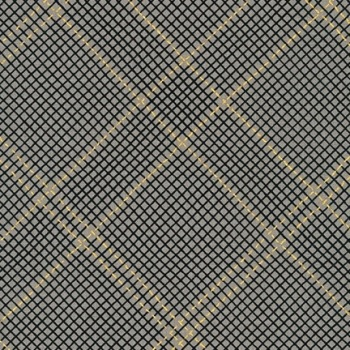 Carolyn Friedlander -CF Collection Tartan border in Pewter  Metallic