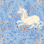 Heather Ross 20th Anniversary Unicorn on blue