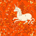 Heather Ross 20th Anniversary Unicorn on orange