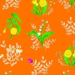 Heather Ross 20th Anniversary floral on orange