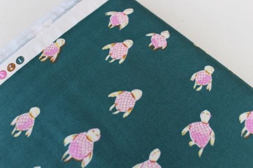 Heather Ross Malibu - Sea turtle in Dark Teal
