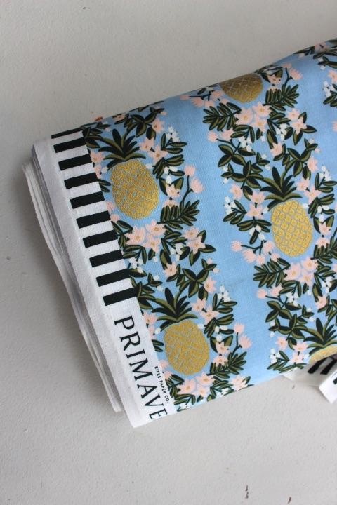 Rifle Paper Co. Menagerie-PRIMAVERA -pineapple stripe -PERIWINKLE- metallic