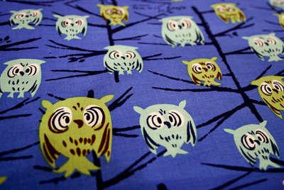 Tammis Keefe Owls in tree on midnight blue