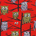 Tammis Keefe Owls in tree on red