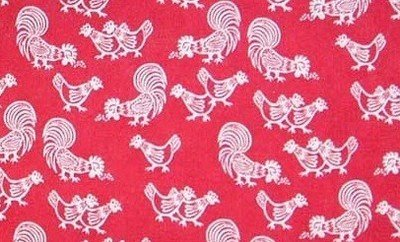 Pecking hens white on red