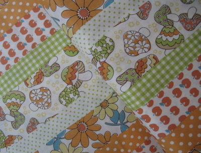 Kokka -Flower/ toadstool patchwork in line