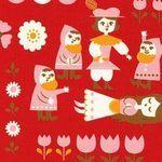 Kokka Snow white fairytale on red