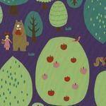 Kokka friends in the apple orchard on purple