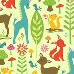 Riley Blake woodland tales deer on green