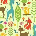 Riley Blake woodland tales deer on green
