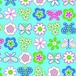 Erin Mc Morris Greenhouse butterfly garden aqua on Flannel