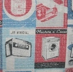 Kokka Retro household appliances  on linen mix