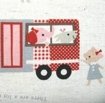 kokka critters on school bus on linen mix