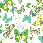 Anthology fabrics Sweet Tea  wee butterfly on white