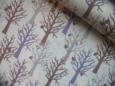 WIDE Kokka large scale mystical trees on  cotton linen mix
