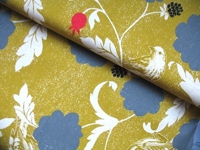 Echino Dahlia bird linen / cotton in gold and grey