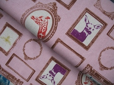 Echino Framed animals on pink linen mix