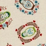 kokka Russian dolls in blue and brown on linen mix