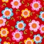 Marie Perkins ELLA Floral on red FLANNEL