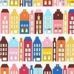 Suzy Ultman Dollhouse street in retro colors