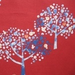 Hokkah  graphic Japanese trees in forest on red