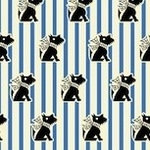 Judie Rothermel Grace in a pickle Scottie dog on blue stripe