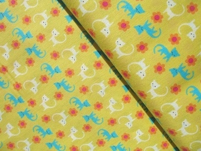 Lecien tiny prints collection kitties on yellow