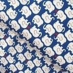 Kokka Shy Nellys on heavy cotton in blue