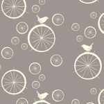 Birch Fabrics ORGANIC birdie spokes in stone grey