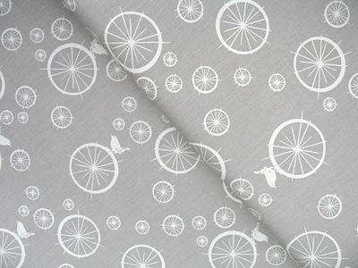 Birch Fabrics ORGANIC birdie spokes in stone grey