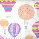 Lecien Isso Ecco decorated hot air balloons in white
