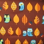 Cosmo Japan sleepy owl in brown on oxford cotton