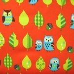 Cosmo Japan sleepy owl in orange on oxford cotton