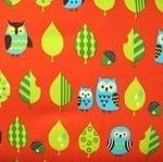Cosmo Japan sleepy owl in orange on oxford cotton