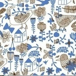 Carolyn Gavin Village green sketched birds in blue