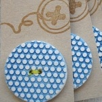 Handmade ceramic button Matt honeycomb in blue