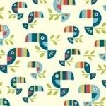 Birch Fabrics ORGANIC safari soiree toucan tango