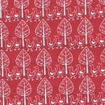 Westfalenstoffe chick and tree white on red  (wide)