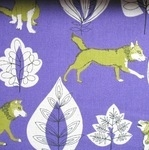 Kokka wood world wolf purple linen mix